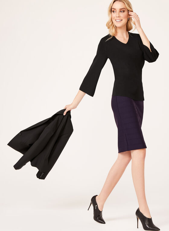 Ottoman Knit Pencil Skirt, Purple, hi-res