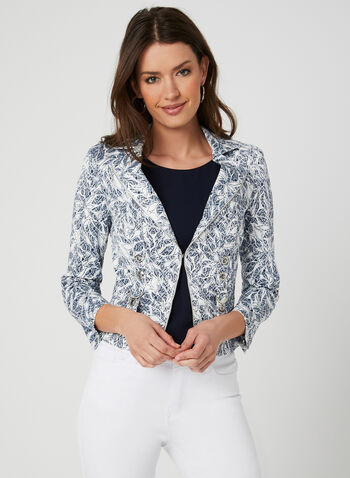Vex - Leaf Print Jacket, Blue, hi-res