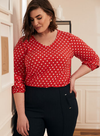 Polka Dot Print Top, Red,  top, polka dot print, gathered sleeve, 3/4 sleeves, scoop neck, crepe, spring summer 2021