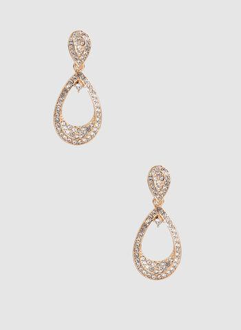 Crystal Encrusted Earrings, Gold, hi-res,  rhinestone earrings