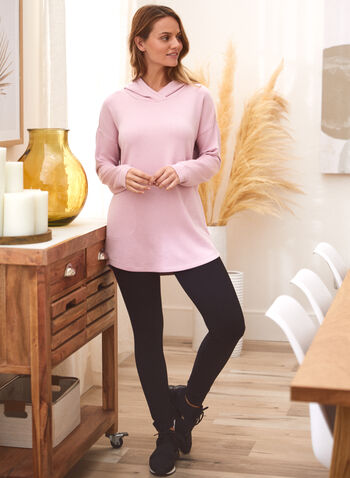 Long Sleeve Hooded Sweater, Pink,  fall 2021, top, shirt, pullover, tunic, long, long sleeves, drop shoulder, cowl neck, rounded hem, lyocell, jersey, side pockets, hood, hooded