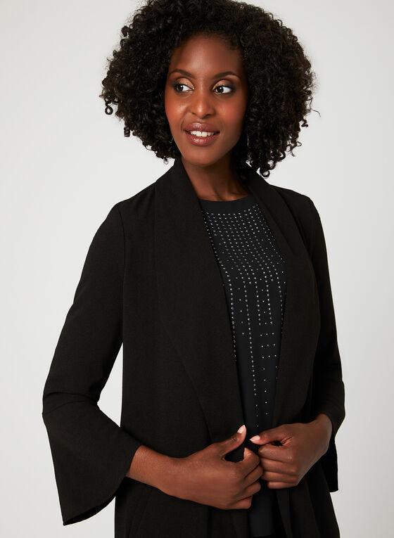 Open Front Crepe Jacket, Black, hi-res