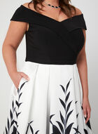 Leaf Print Off-the-Shoulder Ball Gown, Black, hi-res