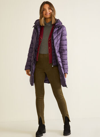 Zipper Detail Faux Suede Leggings, Green,  fall winter 2020, leggings, pull-on, elastic waist, suede, zipper