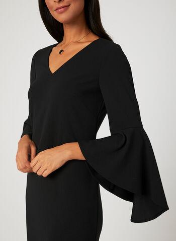 Bell Sleeve Dress, Black, hi-res