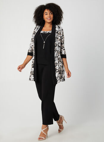 Jersey Pantsuit, Black, hi-res,  cardigan, top, dress, jersey, fall winter 2019, necklace, pantsuit, long sleeve