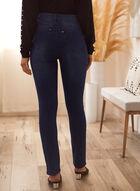 Pearl Detail Straight Leg Jeans, Blue