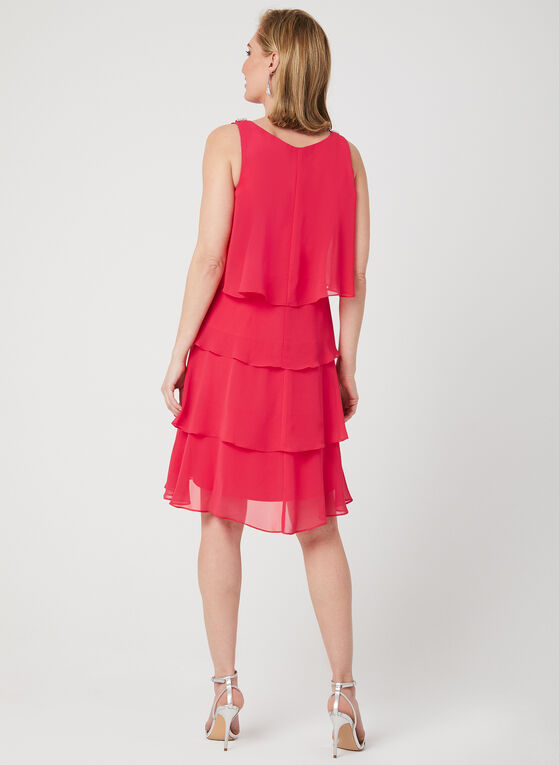 Tiered Chiffon Dress, Red, hi-res