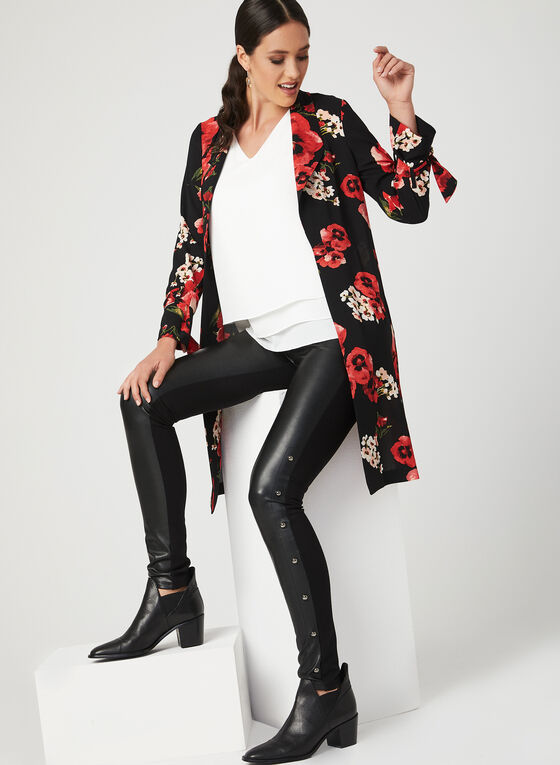 Floral Print Crepe Duster Jacket, Red, hi-res