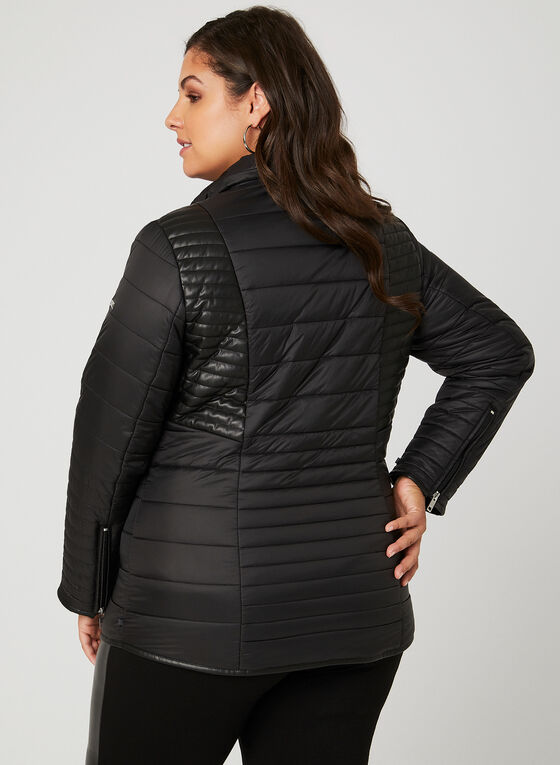 Novelti - Faux Leather Detail Quilted Coat, Black, hi-res
