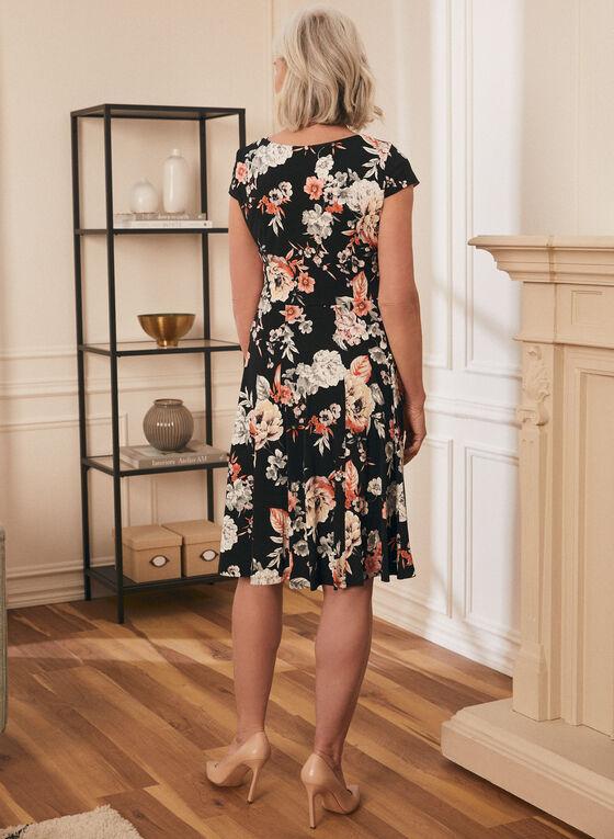 Cap Sleeve Fit & Flare Dress, Black