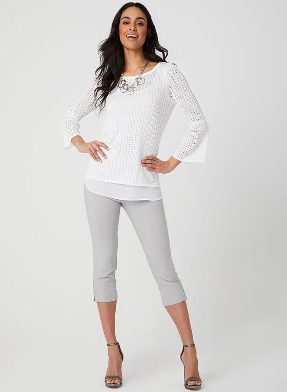 Haut en tricot à effet superposition, Blanc, hi-res