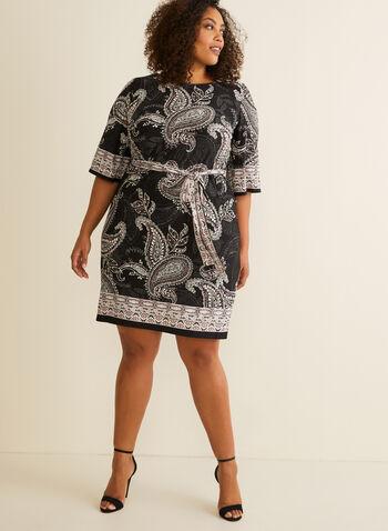 Paisley Print Dress, Black,  day dress, short dress, dress, paisley print, jersey dress, jersey, spring dresses, spring 2020, summer 202, 3/4 sleeves