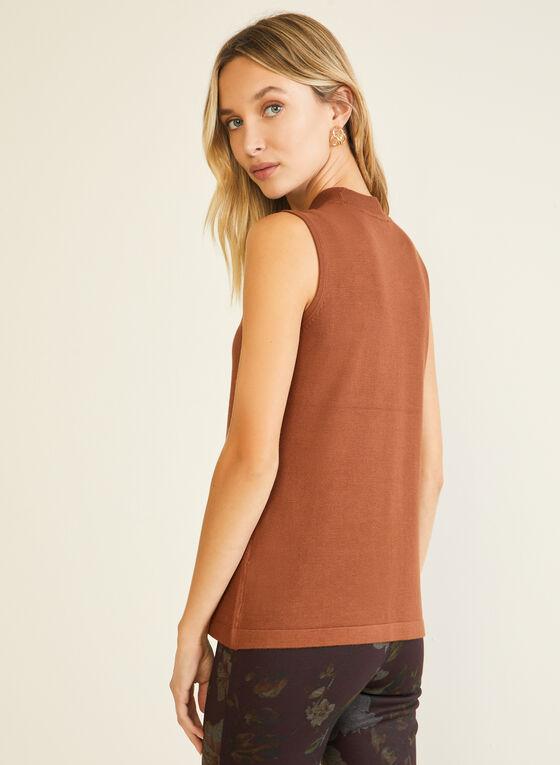 Mock Neck Sleeveless Sweater, Brown