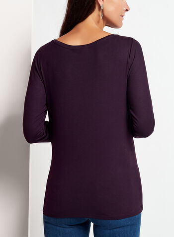 Long Sleeve Scoop Neck Top, Purple, hi-res