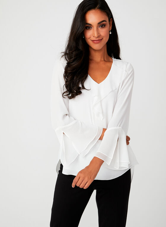 Ruffle Trim Crepe Blouse, Off White, hi-res