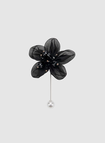 Mesh Petal Flower Pin, Black, hi-res