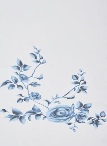 Foulard léger à motif roses, Bleu, hi-res