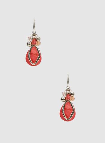 Bead Cluster Dangle Earrings, Orange, hi-res