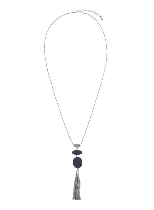 Collier pendentif géométrique et pompon chaînons, Bleu, hi-res