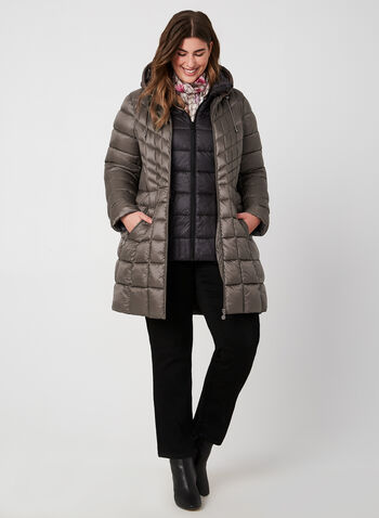 Bernardo - Weatherproof Coat EcoPlume™, Brown,  fall 2019, winter 2019, coat, quilted, vest, eco friendly, hood, long sleeves