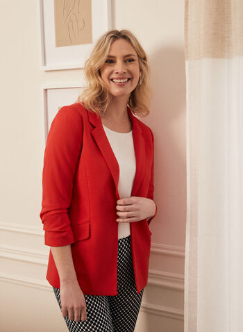 Crepe Gathered Sleeve Blazer, Red,  jacket, blazer, notch collar, crepe, gathered sleeve, open front, spring summer 2020