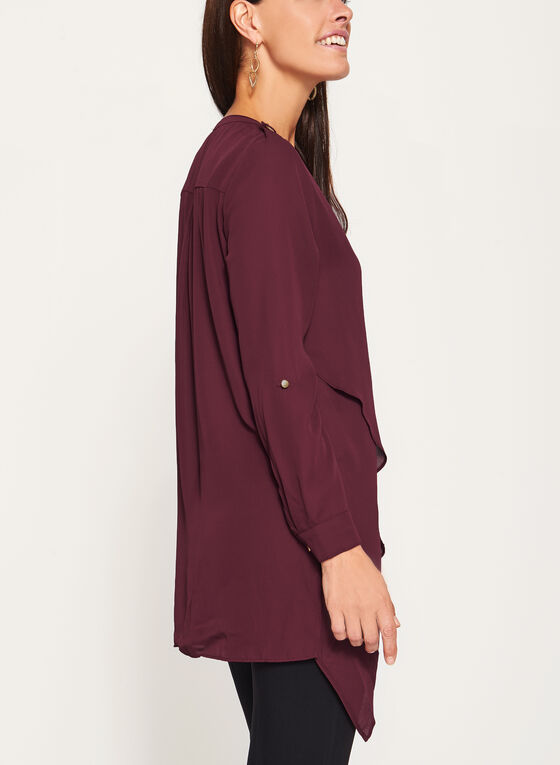 Asymmetric Crepe Henley Tunic, Red, hi-res