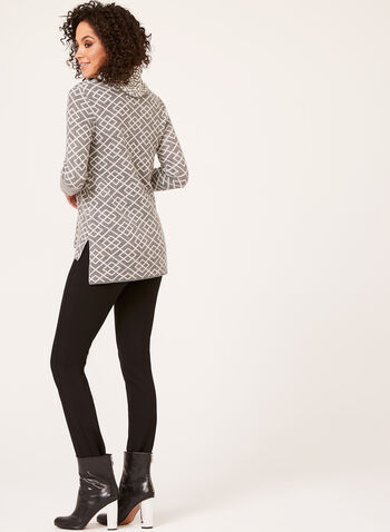 Geometric Print Cowl Neck Sweater, , hi-res