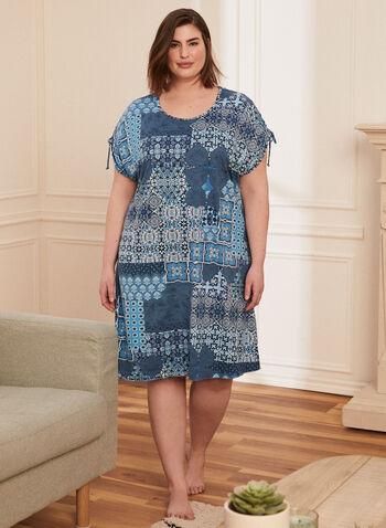 Patchwork Print Nightshirt, Blue,  pyjamas, nightgown, nightshirt, patchwork, short sleeves, spring summer 2021