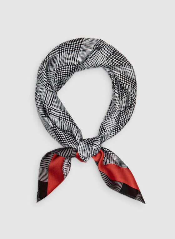 Plaid Print Scarf, Red, hi-res