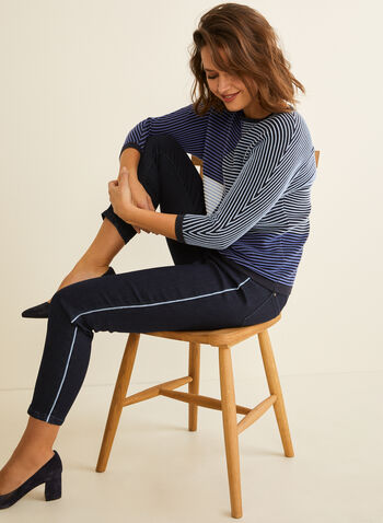 Contrast Trim Slim Leg Jeans , Blue,  jeans, denim, slim legs, 5 pockets, contrasting border, fall winter 2020