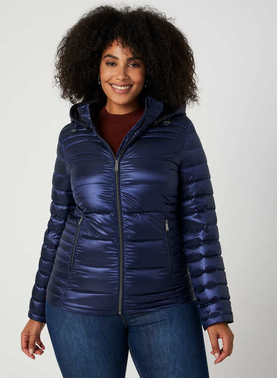 Quilted Packable Lightweight Coat, Blue