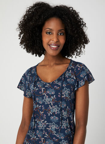 Floral Print Nightgown, Blue, hi-res