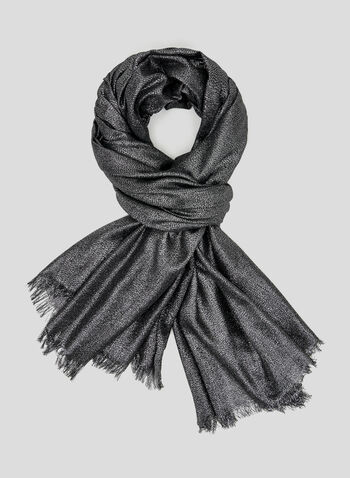 Metallic Pashmina Scarf, Grey, hi-res