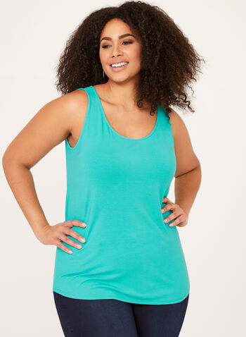 Scoop Neck Tank Top, Blue, hi-res