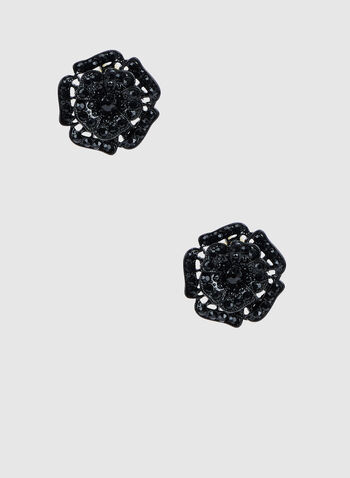 Rhinestone Flower Shape Earrings, Black,