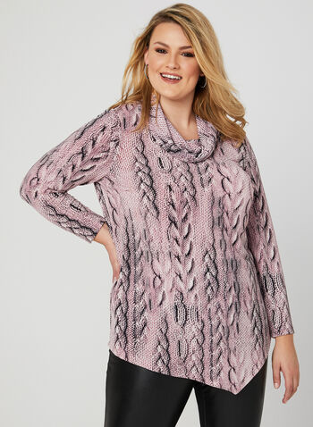 Cable Knit Print Tunic, Multi, hi-res