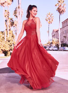 Illusion Neck Mesh Ball Gown, Red, hi-res