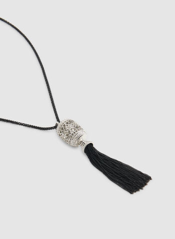 Tassel Pendant Necklace, Black,  tassel necklace, metallic pendant