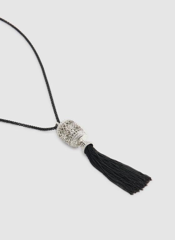 Tassel Pendant Necklace, Black