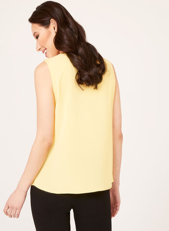 Sleeveless V-Neck Crepe Blouse, Yellow, hi-res