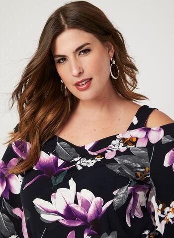 Floral Print Off The Shoulder Top, Purple, hi-res