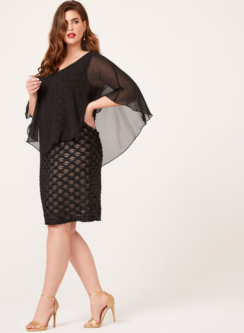 Chiffon Poncho Overlay Dress, Black, hi-res