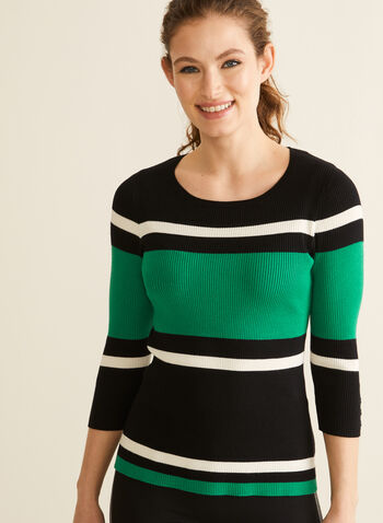3/4 Sleeve Striped Sweater, Green,  sweater, stripes, knit, 3/4 sleeves, crew neck, stretchy, spring summer 2020