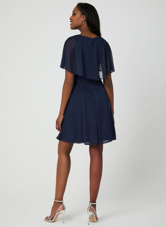 Glitter Mesh Dress, Blue, hi-res