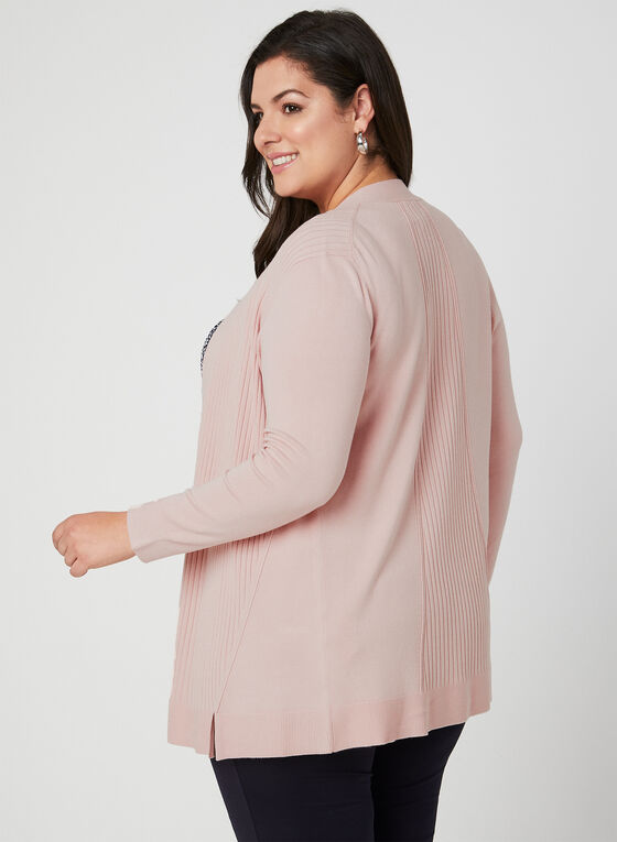 Ribbed Open Front Cardigan, Pink