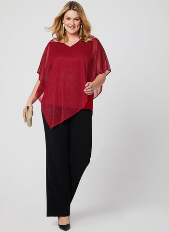 Glitter Poncho Blouse, Red, hi-res