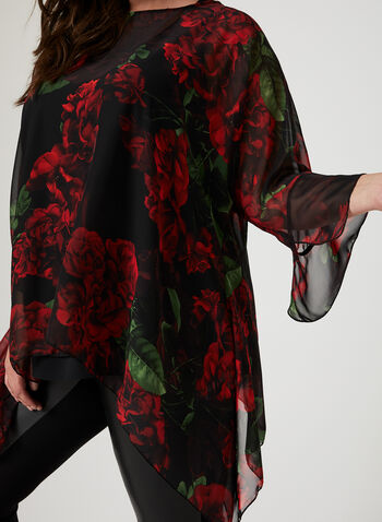 Floral Print Sheer Chiffon Blouse, Black, hi-res
