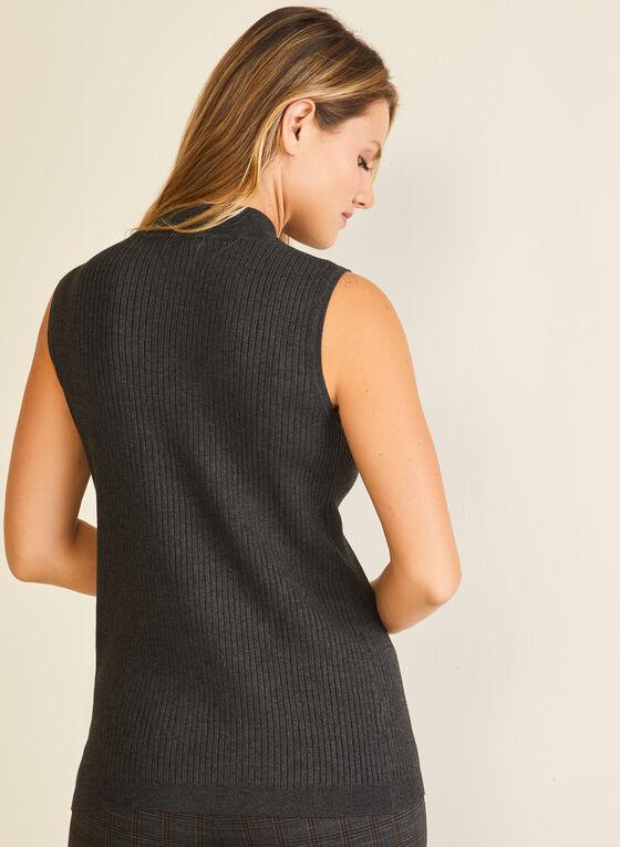 Sleeveless Mock Neck Sweater, Grey