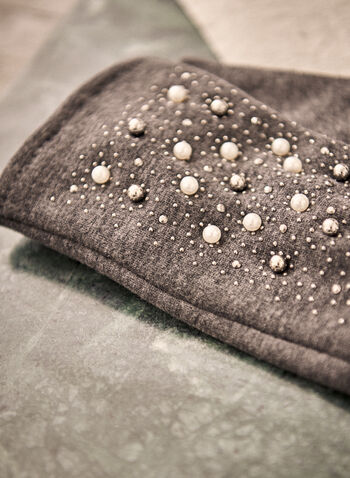 Pearl Detail Gloves, Grey,  accessories, gloves, pearls, studs, fall winter 2021
